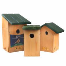 3 Nistkästen für verschiedene Vogelarten