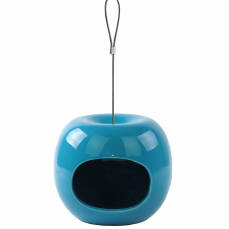 Futterspender Keramik in Apfelform blau