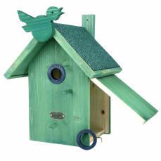 Nistkasten grün mit Vogel