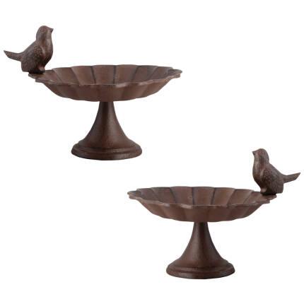 Vogeltränke auf Fuß Gußeisen mit Vogel - 2 Stück
