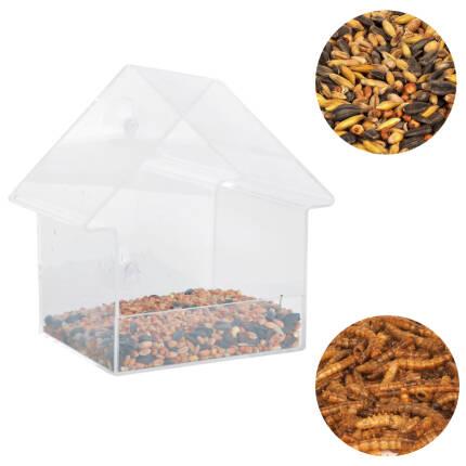 Fensterfutterhaus Acryl mit Saugern inkl. getrocknete Mehlwürmer & Streufutter